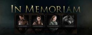 Game of Thrones Season 3 In Memoriam