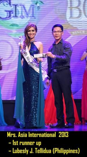 Mrs. Asia International  2013 – 1st runner up Lubesly J. Tellidua (Philippines)