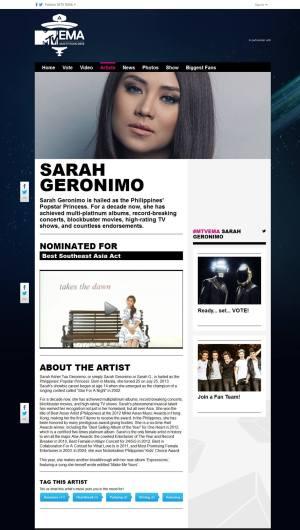 Sarah G MTV EMA